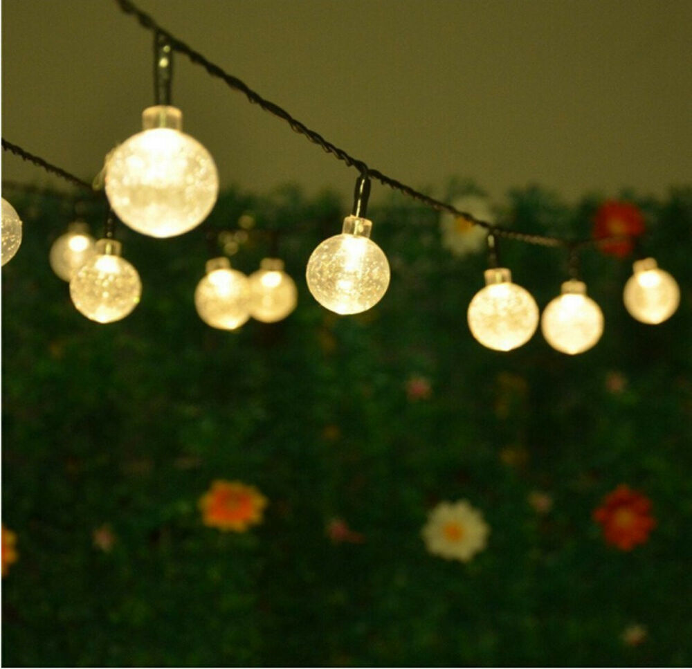 Outdoor Bistro Solar Powered Globe String Lights: 30 LED Warm White Crystal Ball Globe Lights Solar Outdoor