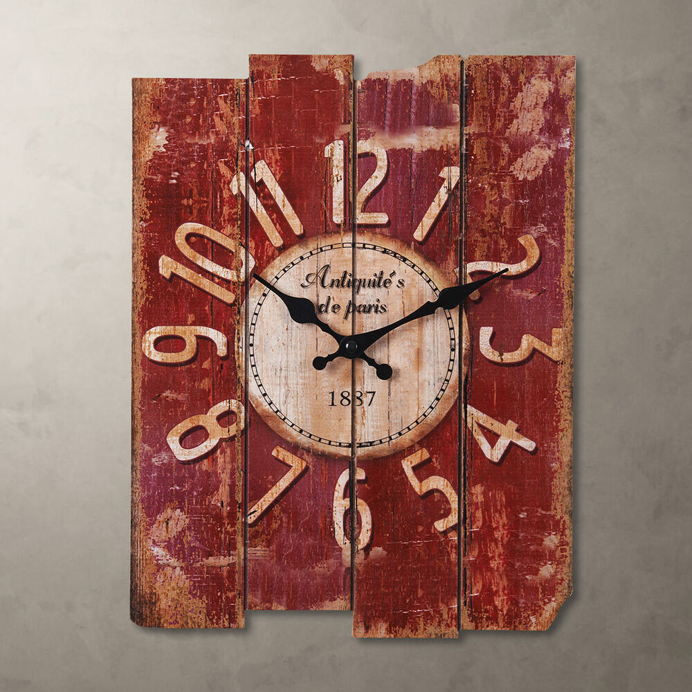 new country vintage antique wood wall clock home decor