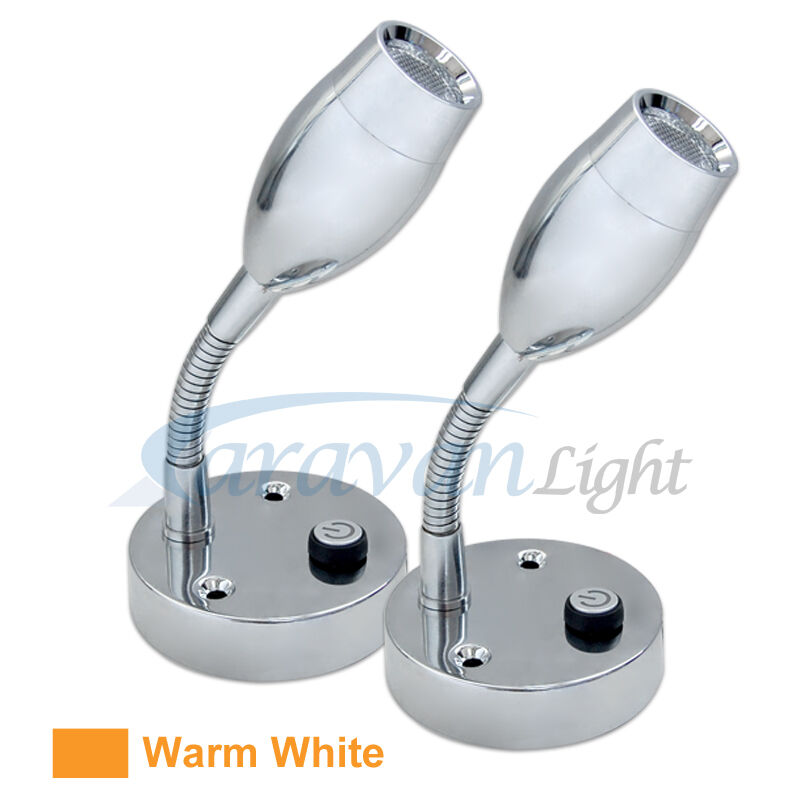 LED Reading Light Wall Mounted Lamp 12V Warm White Caravan/RV/Marine Pack of Two eBay