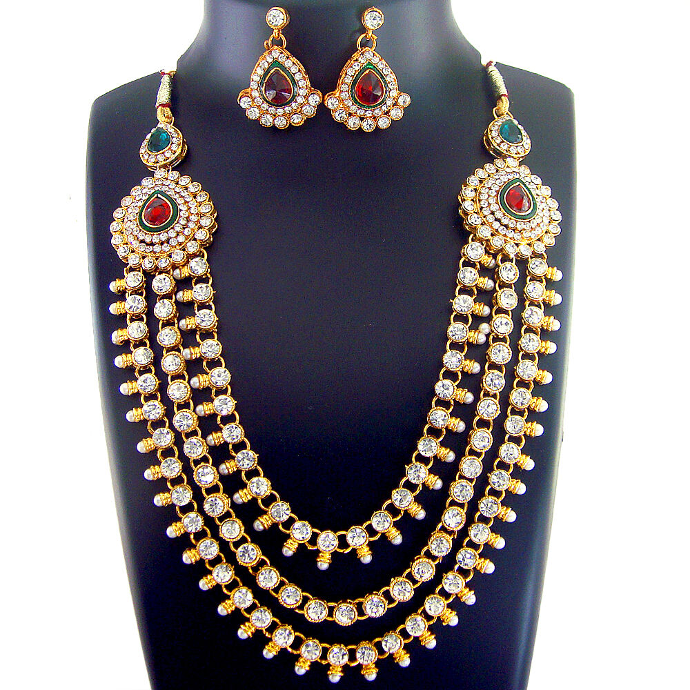 Ethnic Indian Jewelry Gold Necklace Set: X 1 Indian Bridal Jewelry Bollywood New Necklace Ethnic