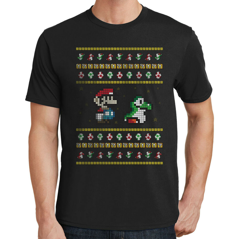Super Mario Brothers Ugly Christmas Sweater Graphic T-Shirt Great ...