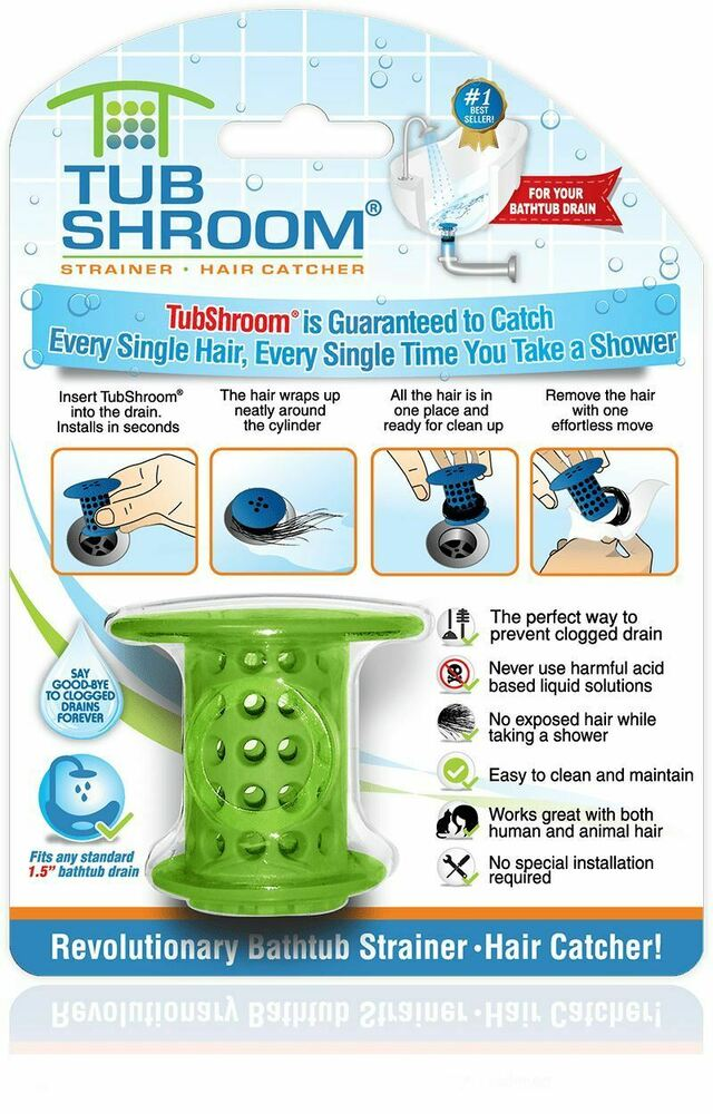 (Green) TubShroom Hair Catcher, Strainer, Drain Protector For Tub 100%  Authentic 819358009029   EBay