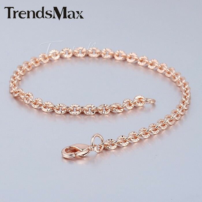 Thin Gold Chain Bracelet: 7-10inch Womens Chain Rose Gold Filled GF Bracelet 3MM