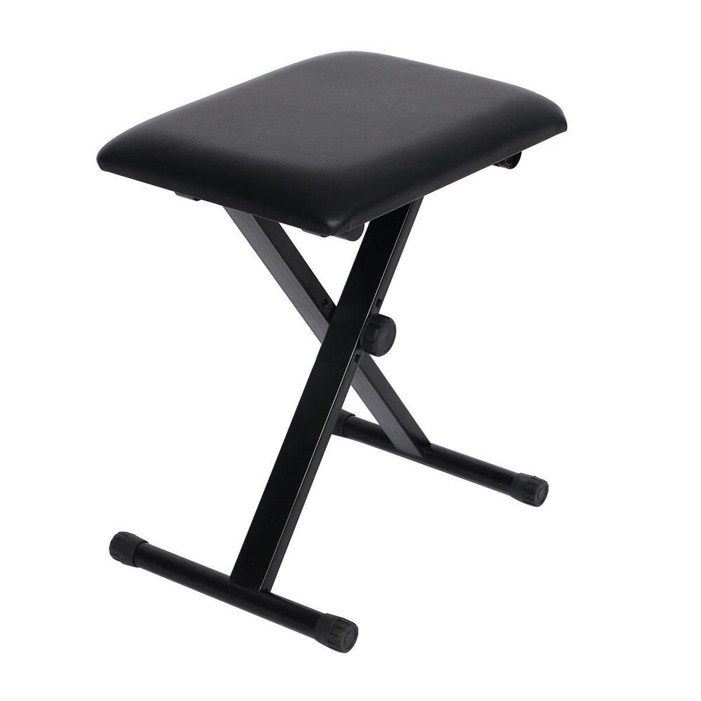 Adjustable folding piano keyboard bench leather padded stool x seat chair black ebay Padded bench seat