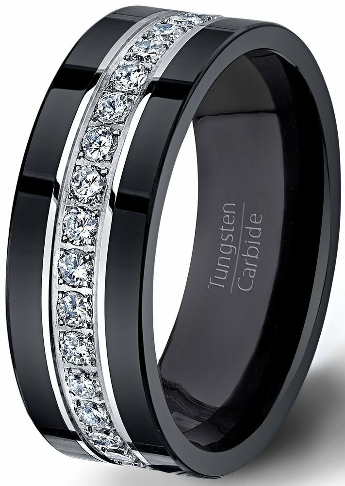 mens wedding band black tungsten ring fully stacked with comfort fit ebay. Black Bedroom Furniture Sets. Home Design Ideas