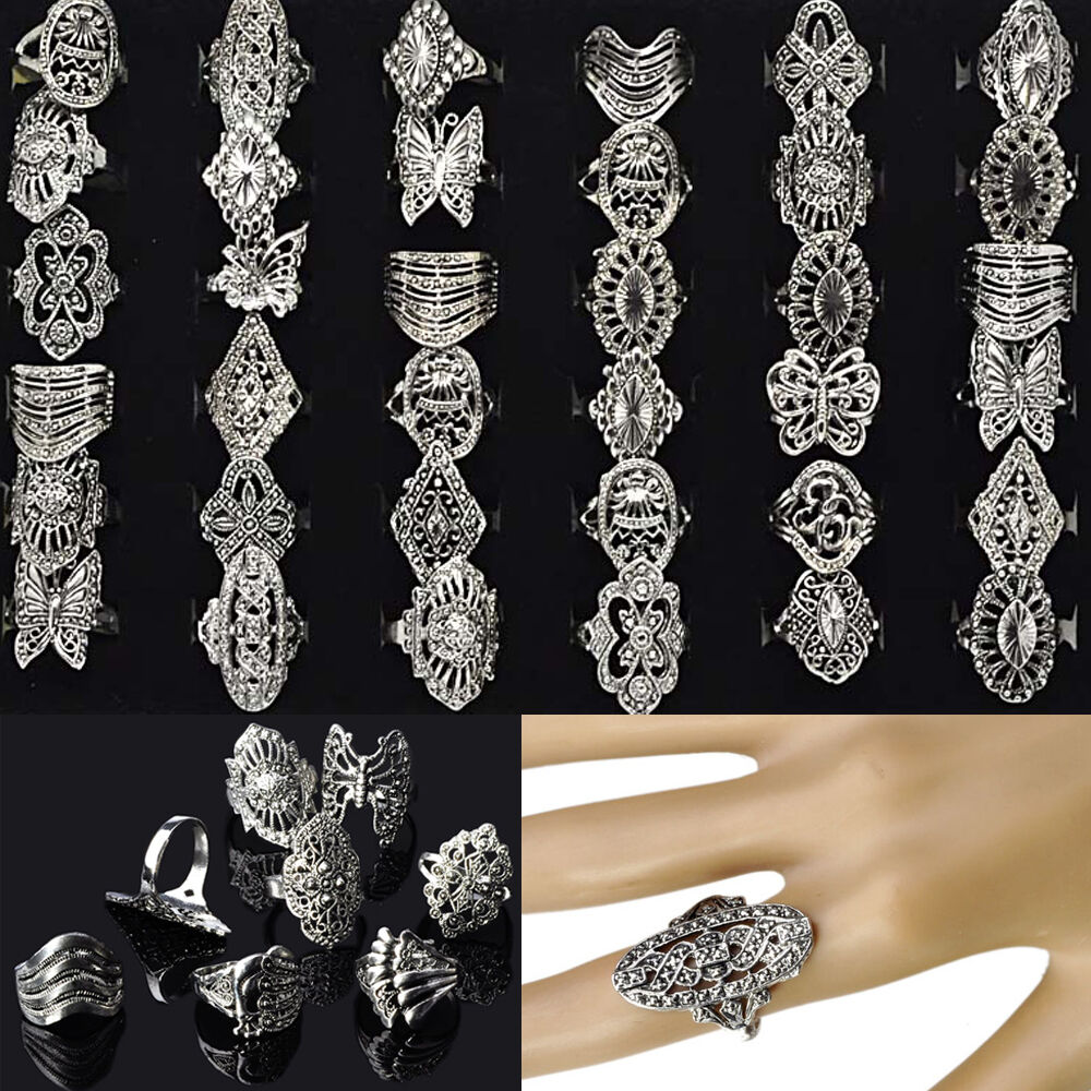 30pcs Wholesale Bulk Jewelry Lots Mixed Style Tibet Silver ...