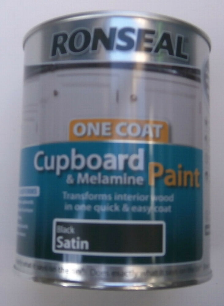 Ronseal one coat cupboard melamine paint black satin for One coat white paint