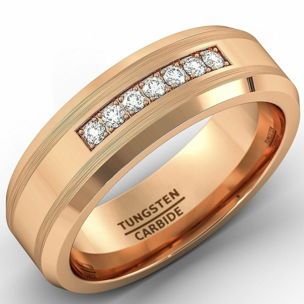 8mm rose gold tungsten carbide ring with brilliant cz mens. Black Bedroom Furniture Sets. Home Design Ideas