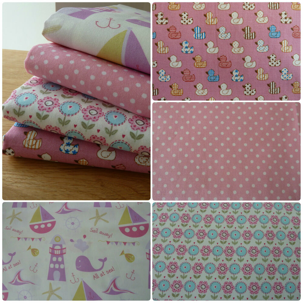 Childrens pink fabric bundle 4 fat quarters 100 cotton for Childrens fabric bundles