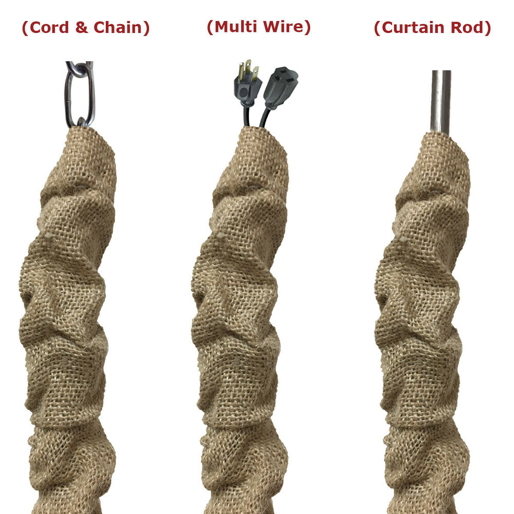 royal designs chandelier lamp chain cord cover 48 brown burlap cc 19 bl ebay. Black Bedroom Furniture Sets. Home Design Ideas