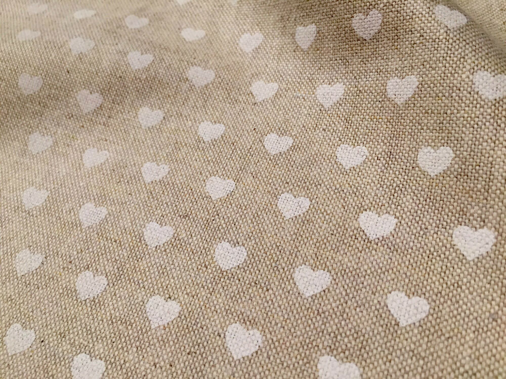 White Heart Canvas Curtain Upholstery Cotton Fabric