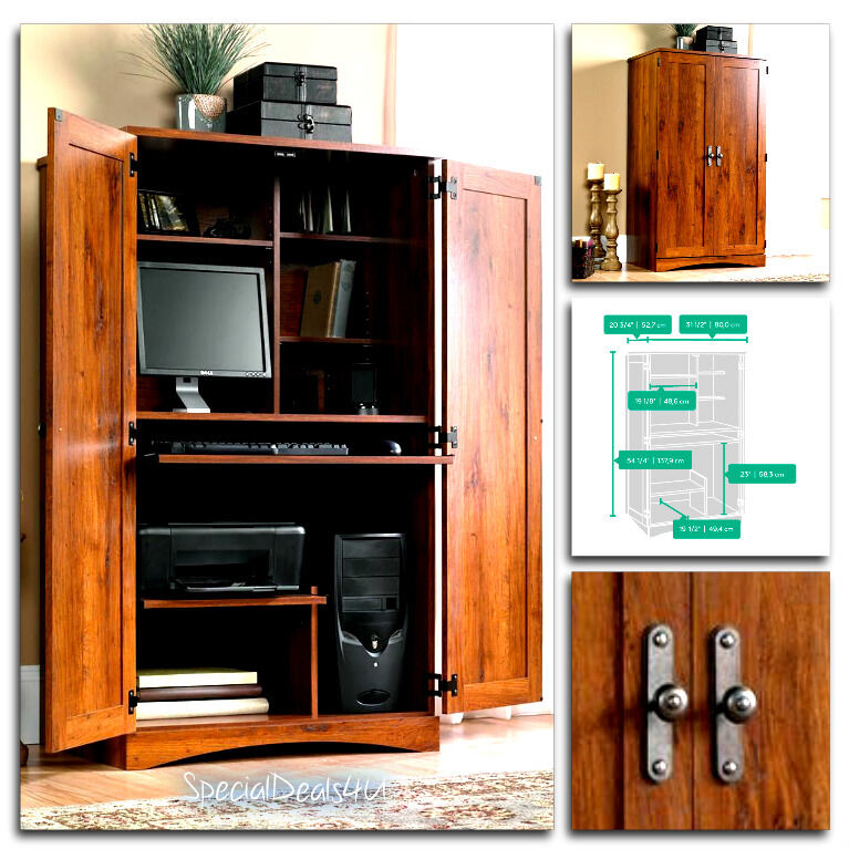 Desk Cabinet: Sauder Computer Desk Storage Furniture Armoire Home Office