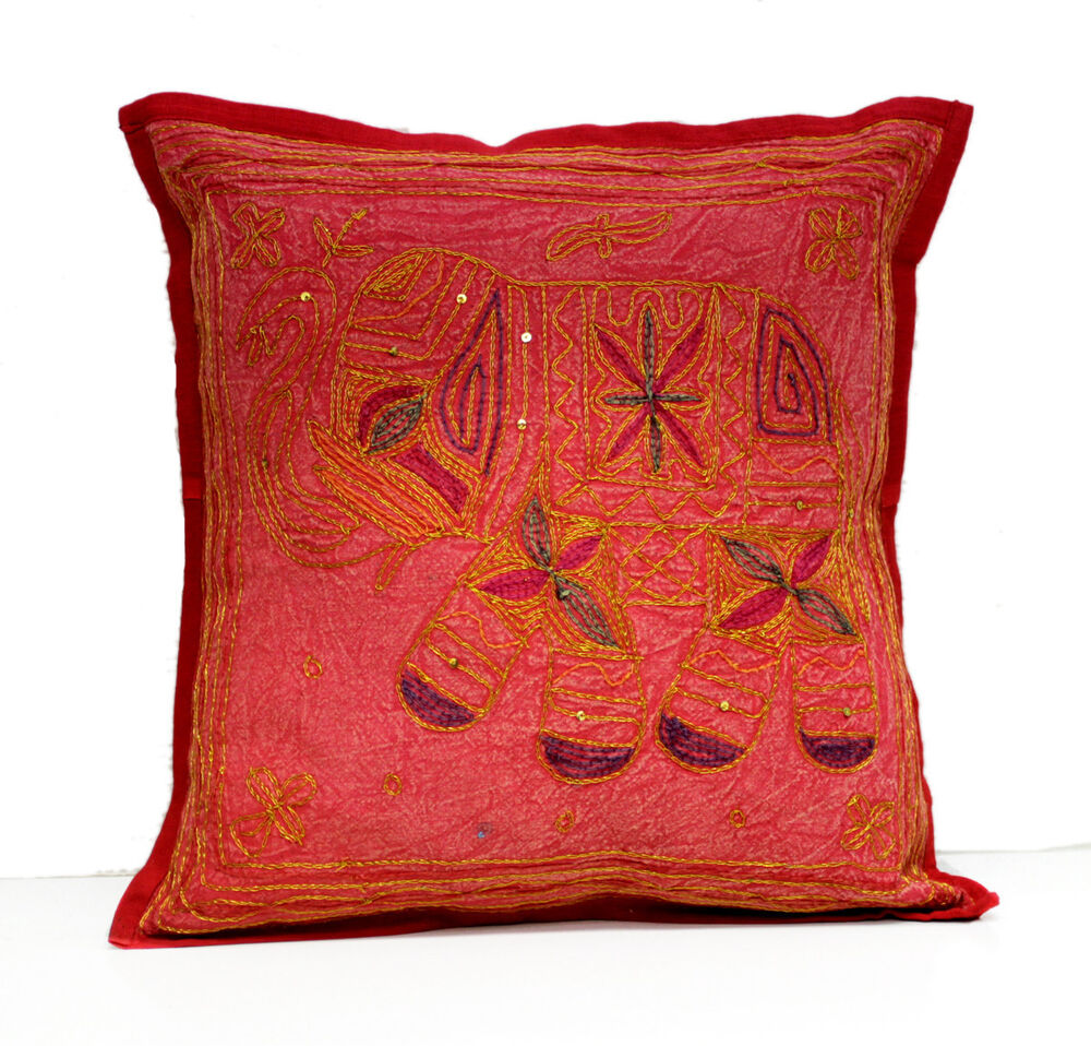 Sequin Elephant Throw Pillow : A Sequin Embroidery Ethnic Indian Elephant USA Pillow Cushion Cover eBay
