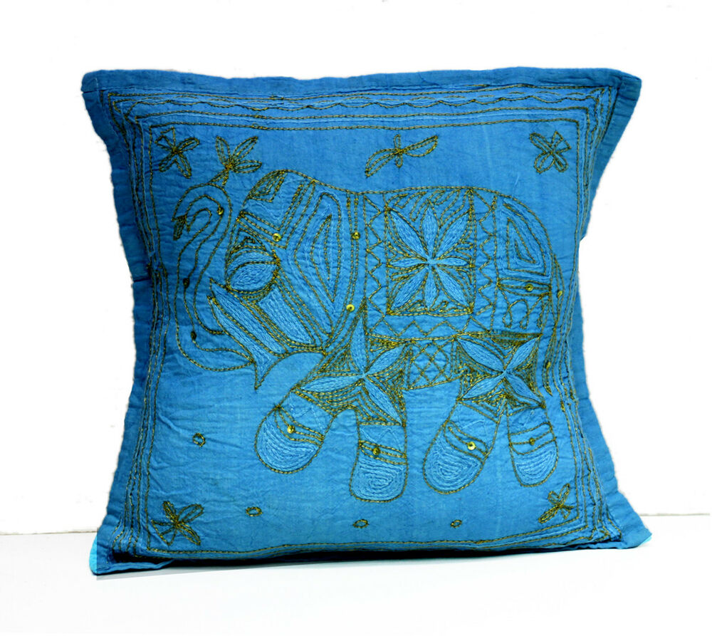 Sequin Elephant Throw Pillow : A Sequin Embroidery Ethnic Indian Elephant USA Pillow Cases Cushion Cover eBay