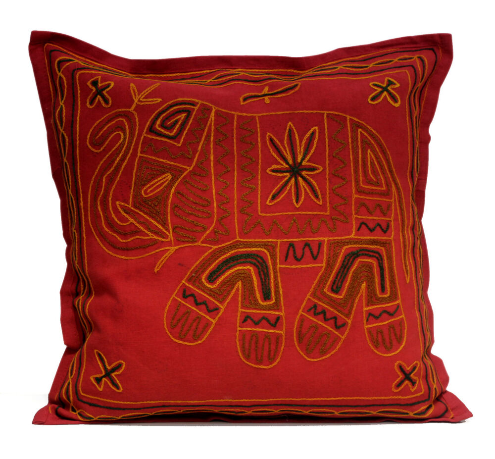 An Embroidered Ethnic Indian Elephant Usa Pillow Cases