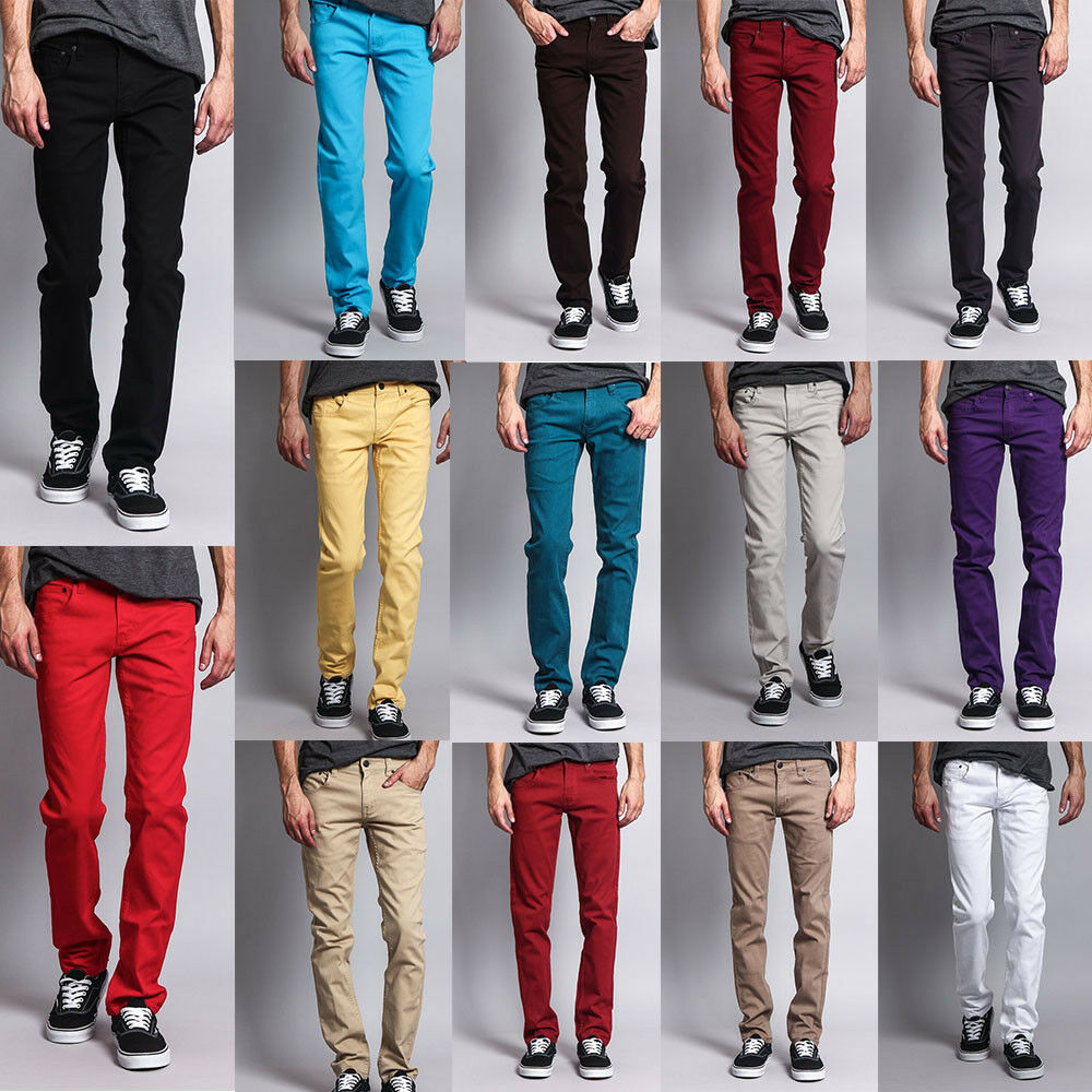 Victorious Men's Skinny Fit Jeans Stretch Colored Pants ...