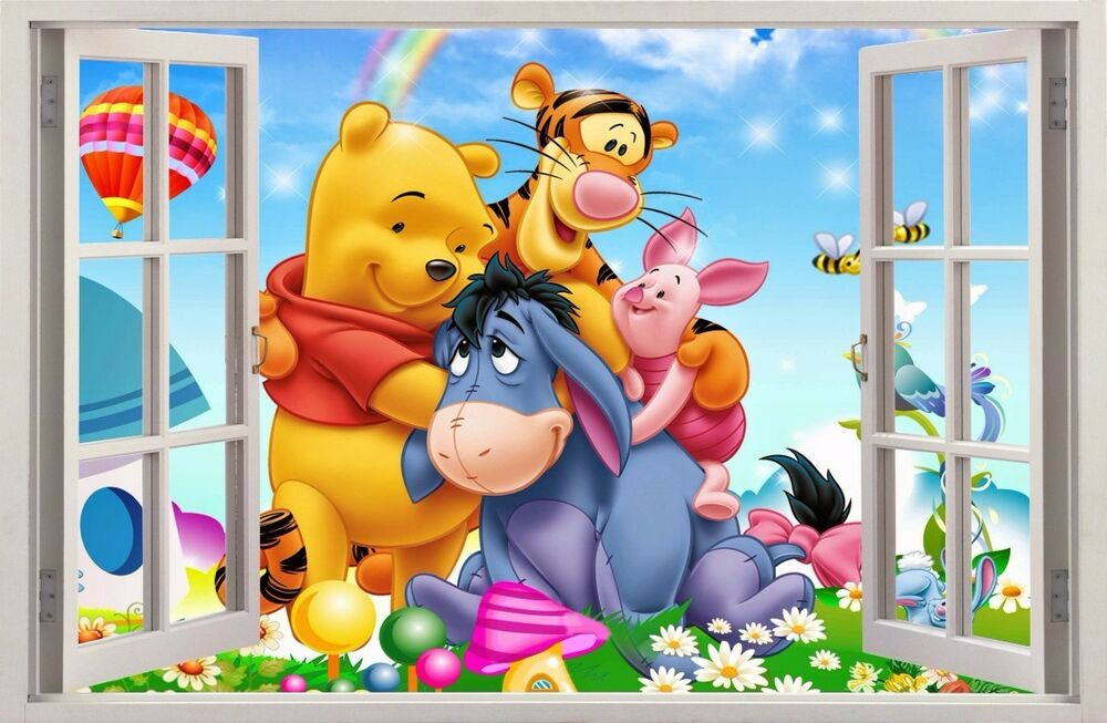 wandaufkleber fenster 3d winnie pooh winnie puuh wand. Black Bedroom Furniture Sets. Home Design Ideas