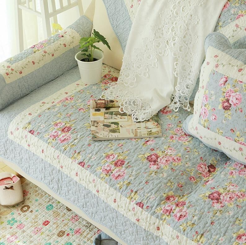 Shabby Chic Cottage Country Quilted Couch Sofa Loveseat