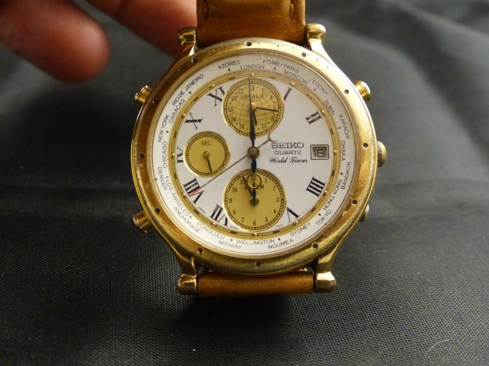 Vintage Seiko Watch, Age of Discovery,5T52-7A11 World Time ...