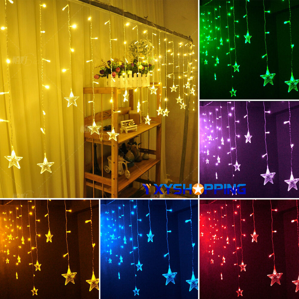 Curtain Of String Lights : Star Hanging Curtain String Lights Fairy LED Lamps Bulbs Christmas Room Decor eBay