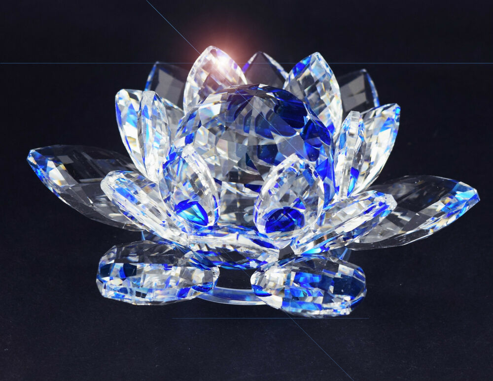 Large blue crystal lotus flower ornament with gift box for Home ornaments