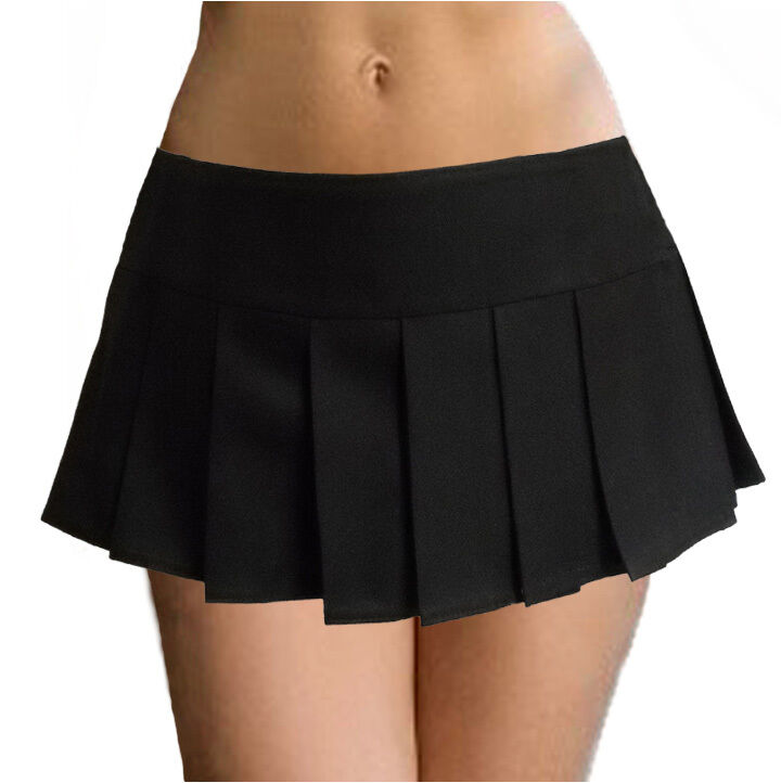 8308a820fc Details about BLACK SOLID SCHOOLGIRL PLEATED MICRO MINI SKIRT (9