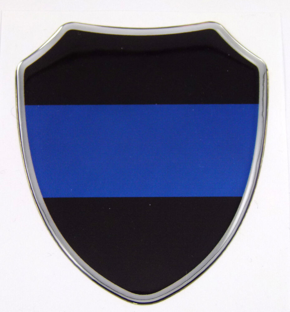 Thin Blue Line Police Domed Decal Shield Emblem Domed