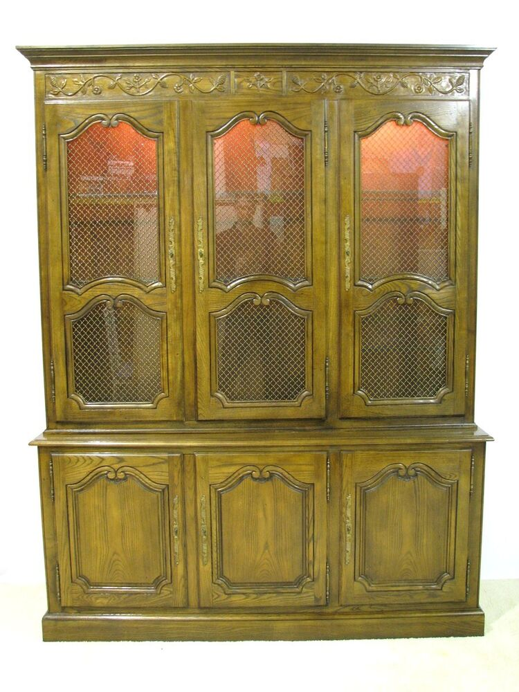 french provincial cabinet baker furniture provincial oak china cabinet w 1105