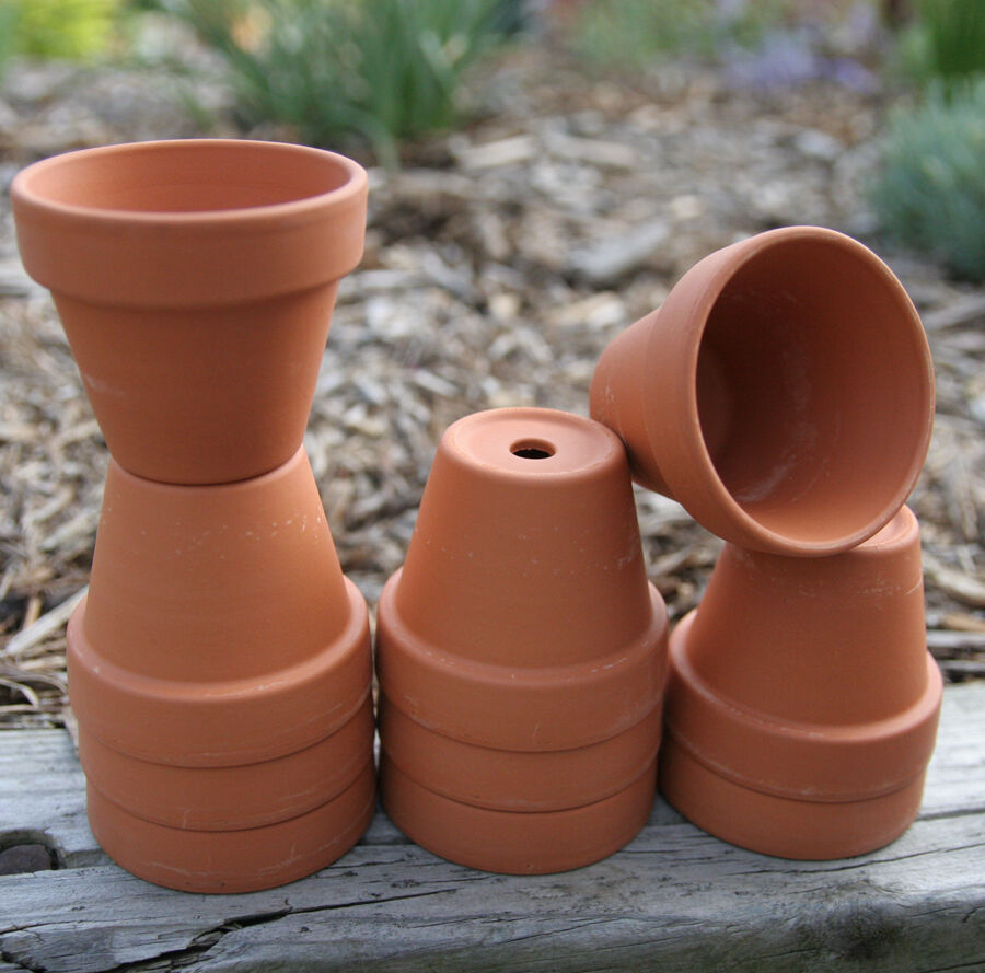 Lot 10 2 inch small clay flower pots garden craft for Small clay flower pots