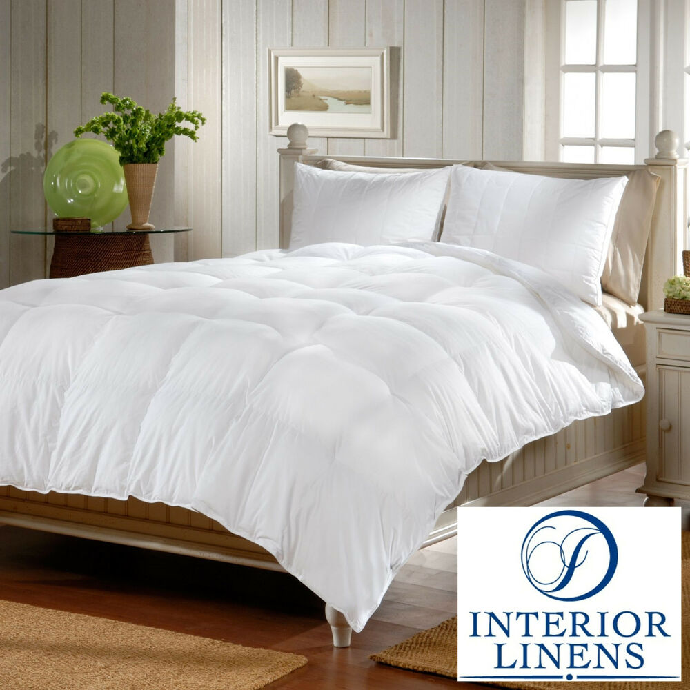 comforters white goose feather down box quilted 600 fill power ebay. Black Bedroom Furniture Sets. Home Design Ideas