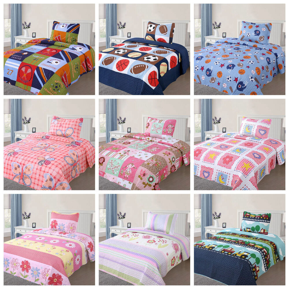2 Pcs Kids Bedspread Quilts Set For Boys Girls Bed Printed