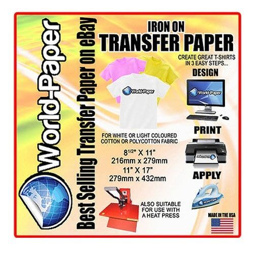 Iron On Heat Transfer Paper Light Color 10 Sheets Ebay