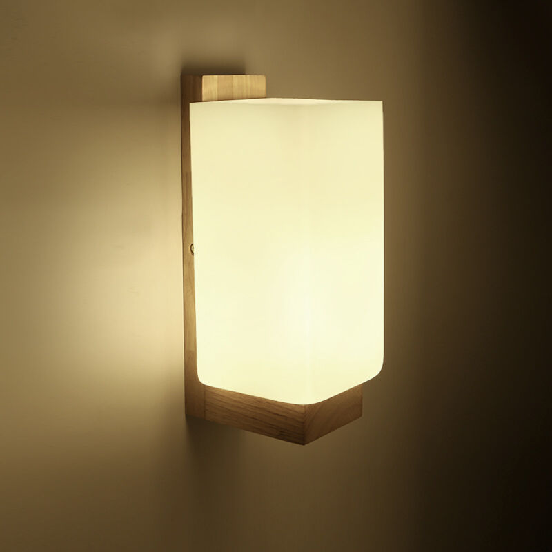 New Modern Wall Sconce Glass Wood Lamp Lights Hallway Corridor Bedroom Lighting eBay