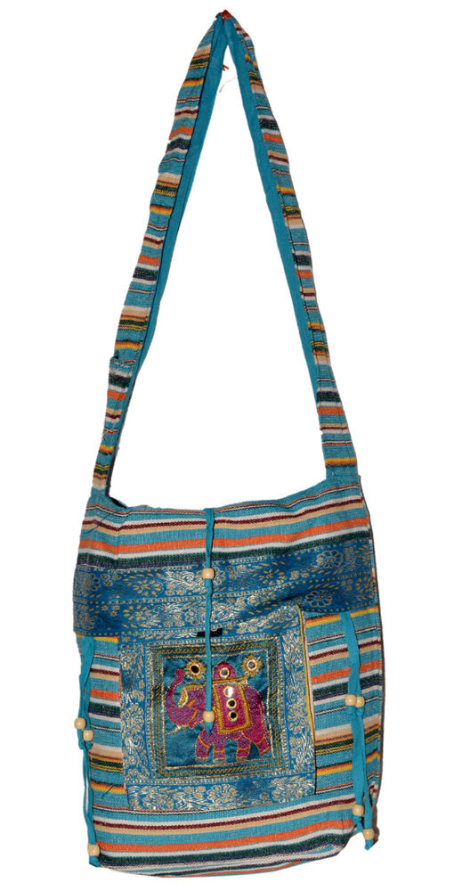 Cotton ethnic embroidered work elephant tote hippie sling
