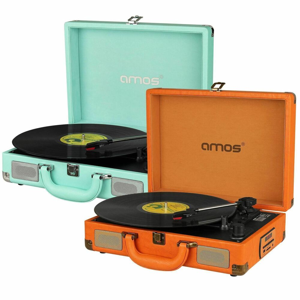 Amos Vintage Suitcase Briefcase Turntable Portable Record