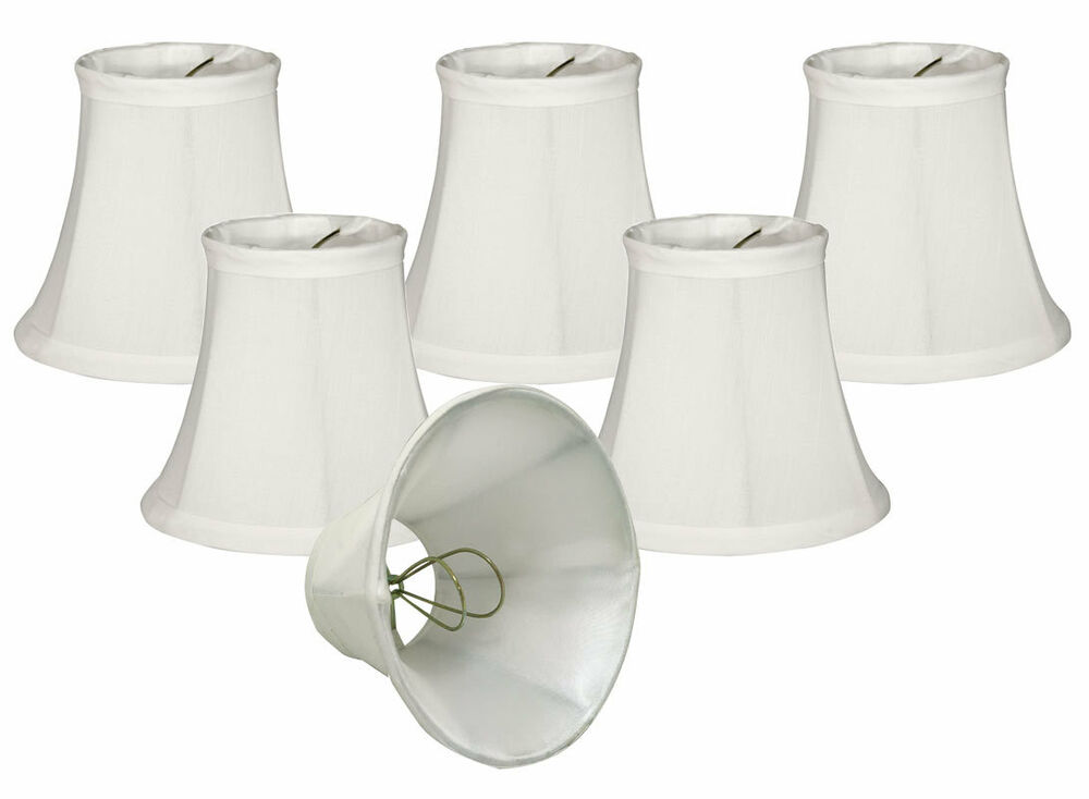 chandelier lamp shades set of 6 soft bell white clip on ebay. Black Bedroom Furniture Sets. Home Design Ideas