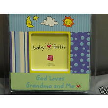 Russ Berrie Baby Faith 3x3 Picture Frame NEW Ceramic