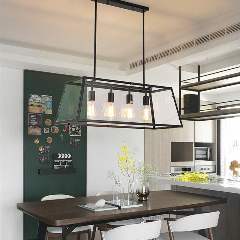 Large Chandelier Lighting Black Lamp Kitchen Glass Pendant