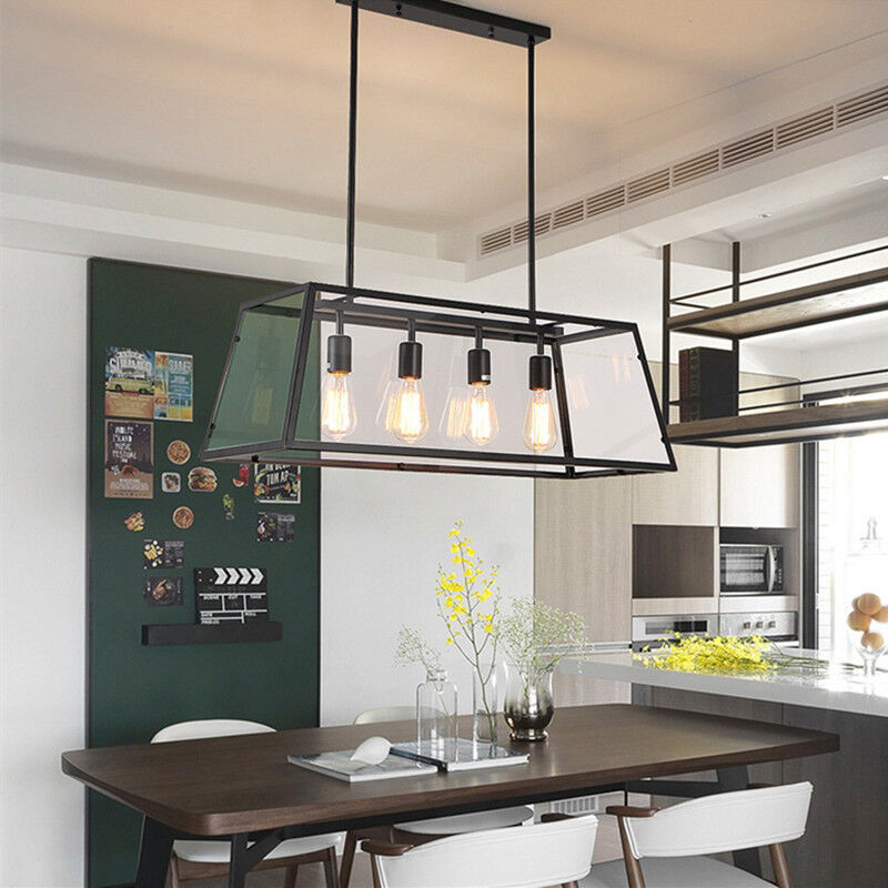 Light Fixtures Kitchen: Large Chandelier Lighting Black Lamp Kitchen Pendant Light