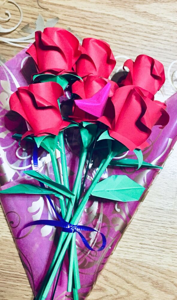 Origami Roses Paper Flowers Valentine Anniversary Birthday Bouquet