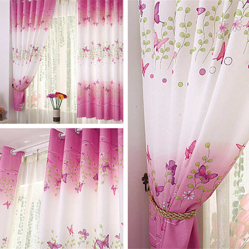 Pink Butterfly Childrens Bedroom Finished Curtain Kids Window Curtains
