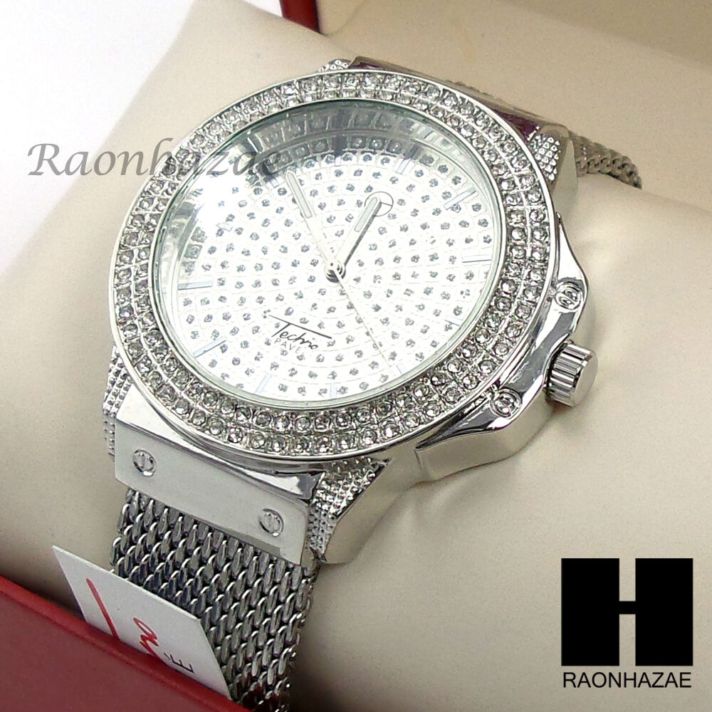 Hip hop techno pave iced out luxury silver finished rapper for Rapper watches