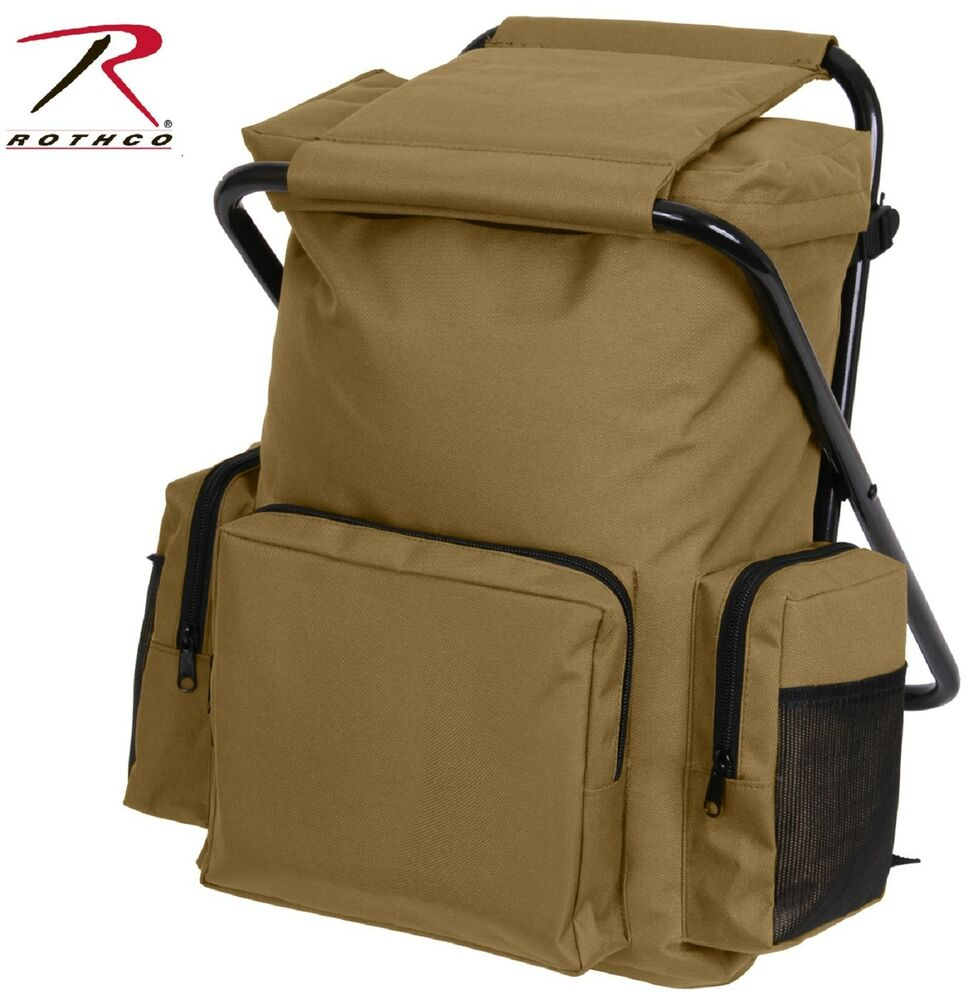 coyote brown backpack stool combo pack rothco hunting outdoor bag seat ebay. Black Bedroom Furniture Sets. Home Design Ideas