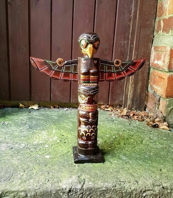 wooden totem pole 40cm hand carved garden ornament statue