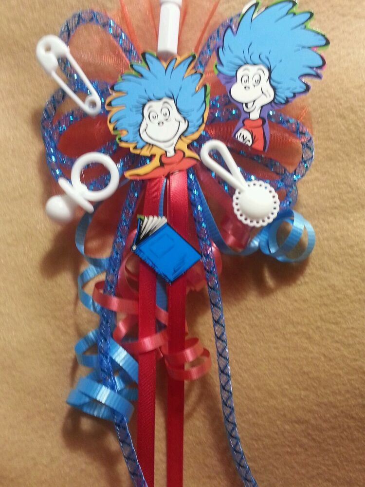 Baby Shower Mommy Corsage Dr Seuss The Cat In The Hat Or Thing 1 Thing 2