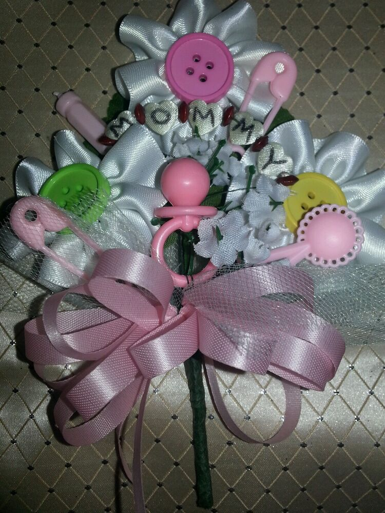 Baby Shower Mommy Cute As A Button Corsage Pink Or Blue