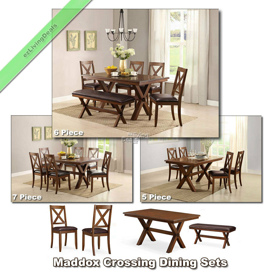 Dining room sets tables chairs benches 5 6 7 piece wood for Dining room table and bench set