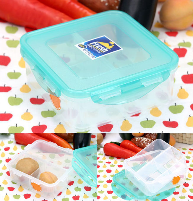 airtight lock square food container with divider plastic fruit storage lunch box ebay. Black Bedroom Furniture Sets. Home Design Ideas