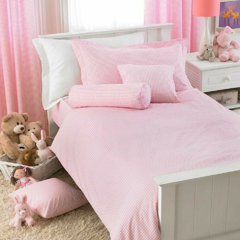 Great Knot Poly Cotton Gingham Toddler Pink Bunk Bed