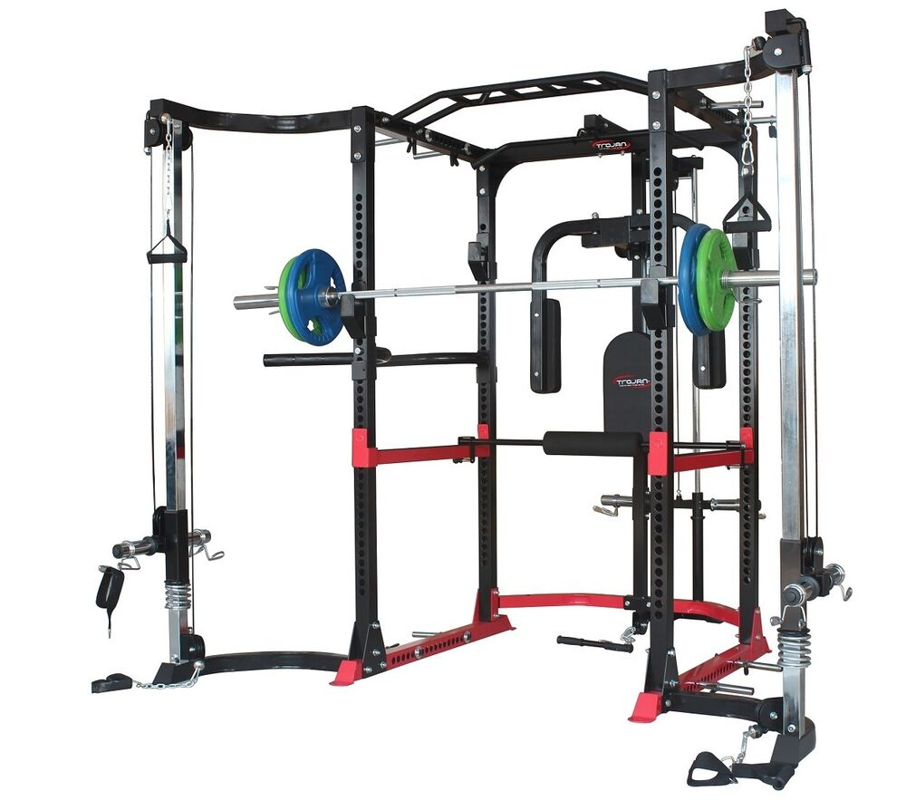Power Rack Cage Lat Attachment Pec Cable Cross Over J